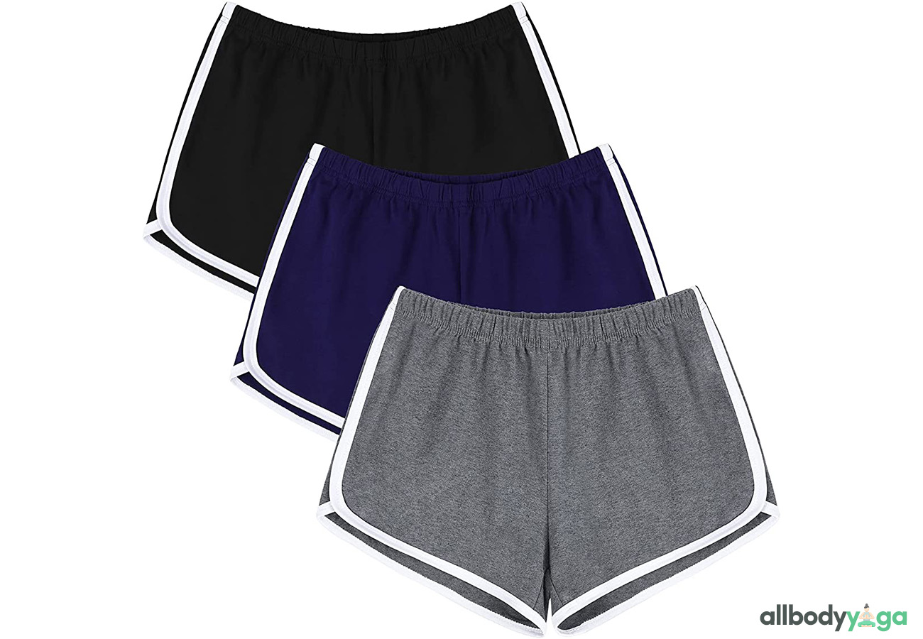 URATOT 3 Pack Running Athletic Shorts Yoga Short Pants Women Gym Dance Workout Shorts